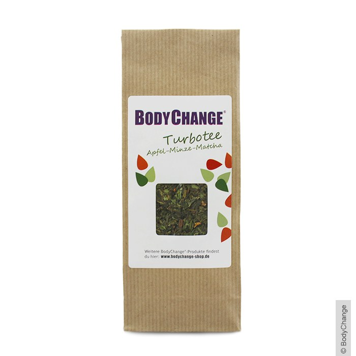 gr ner tee mit apfel minze matcha 75g bodychange shop. Black Bedroom Furniture Sets. Home Design Ideas