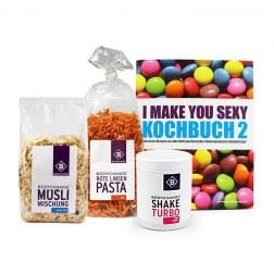 Sparpaket: Kochbuch 2 (B-Ware) + Müsli + Nudeln + Shake Turbo