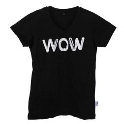 """Frauen T-Shirt """"Wow"""" mit V-Ausschnitt"""